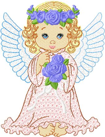 Angel with flowers embroidery design