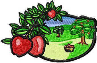 Apple Garden free machine embroidery design