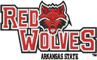 Arkansas Red Wolves logo machine embroidery design