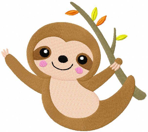 Autumn sloth embroidery design