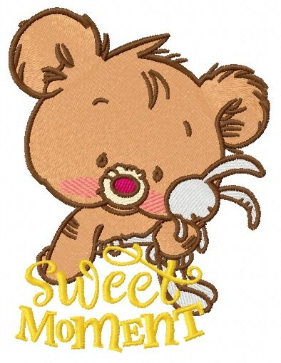 Baby bear with toy embroidery design 3
