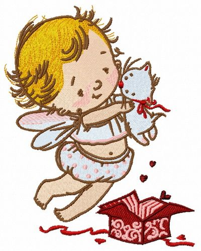 Baby cupid embroidery design 5