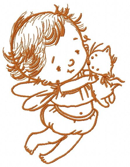 Baby cupid embroidery design 7