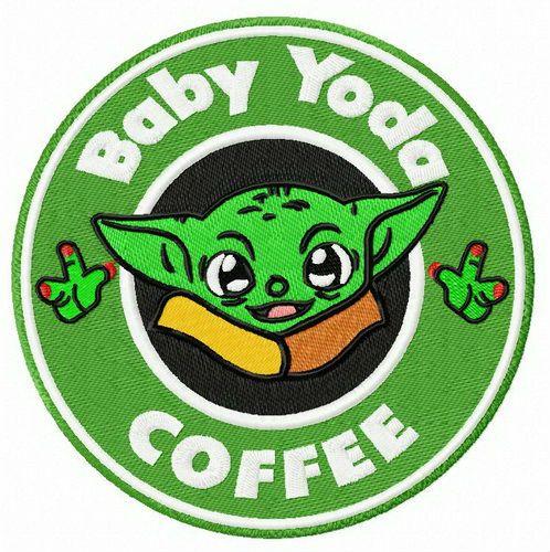 Baby Yoda coffee embroidery design