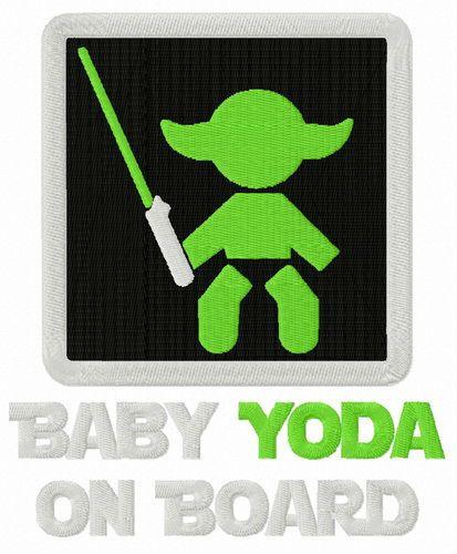 Baby Yoda on board embroidery design