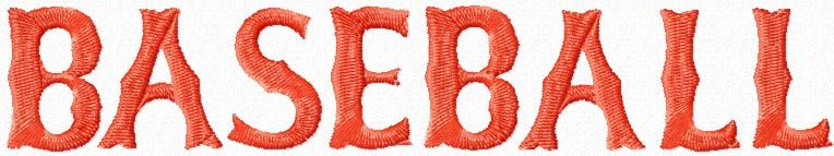 Baseball Red Sox style script machine embroidery design