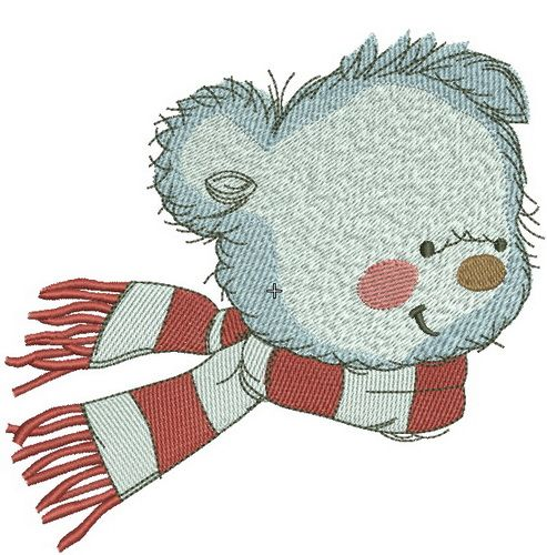 Bear in a warm striped scarf embroidery design 6
