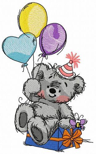 Bear's birthday embroidery design 2