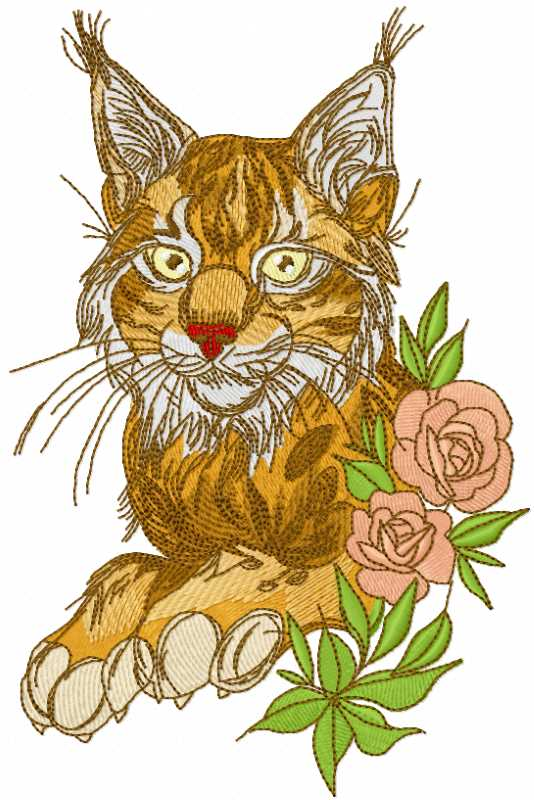 Beautiful lynx with rose embroidery design