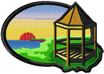 Tower free machine embroidery design