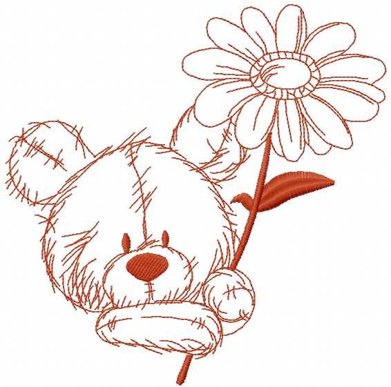 Brown Teddy Bear embroidery design