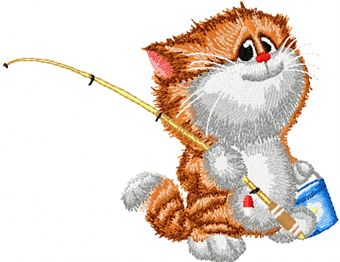 Cat fishing embroidery design