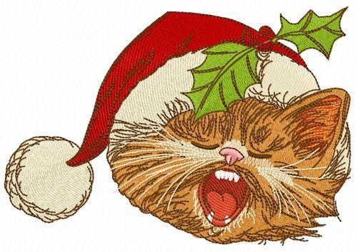 Cat sings Christmas carols embroidery design 3