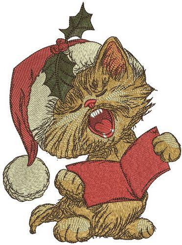 Cat sings Christmas carols embroidery design