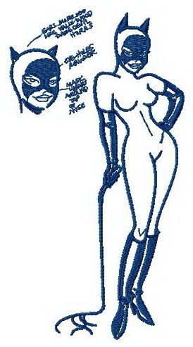 Catwoman sketch machine embroidery design