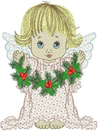 Angel with Christmas decorations embroidery design