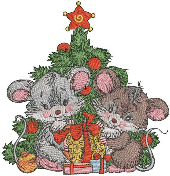 Christmas mice with gifts embroidery design