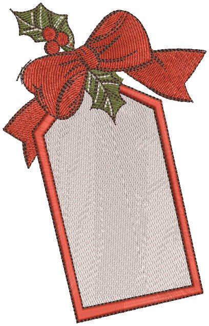 Christmas red label embroidery design