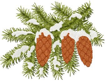 Fir cones on a branch machine embroidery design