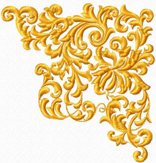 Corner free machine embroidery design