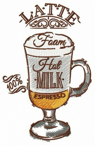 Cup of latte embroidery design