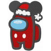Among us Mickey Santa embroidery design