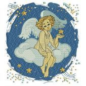 Angel on cloud machine embroidery design