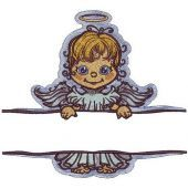 Angel with poster embroidery design