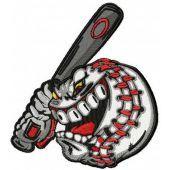 Angry baseball ball machine embroidery design