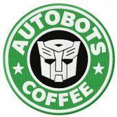Autobots coffee machine embroidery design