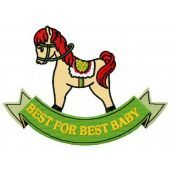 Baby rocking horse machine embroidery design