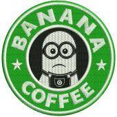 Banana coffee embroidery design