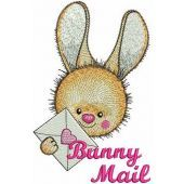 Bunny mail machine embroidery design