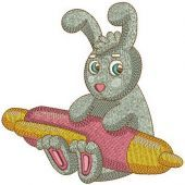 Bunny with pen machine embroidery design