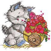 Cat florist embroidery design