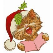 Cat sings Christmas carols embroidery design 2