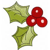 Christmas berries free embroidery design