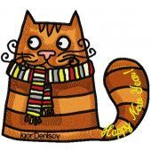 Christmas Cat with scarf embroidery design