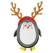 Сhristmas penguin machine embroidery design