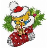 Christmas teddy with toy deer embroidery design