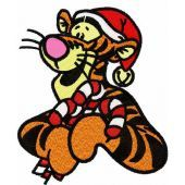Christmas Tigger with wand machine embroidery design