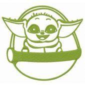Cute Yoda embroidery design 5
