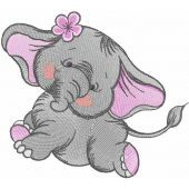 Dancing elephant embroidery design