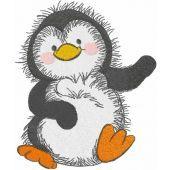 Dancing penguin embroidery design