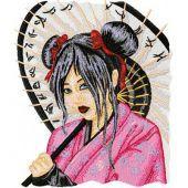 Geisha with Umbrella embroidery design