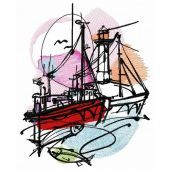 Fishing near the lighthouse embroidery design