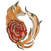 Foxy rose embroidery design