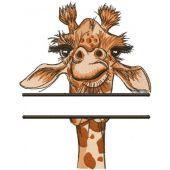 Giraffe monogram embroidery design