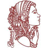Woman with chamomile embroidery design
