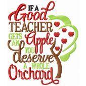 If a good teacher gets an apple embroidery design